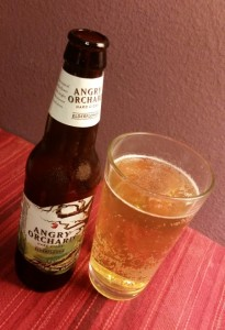 A bottle & glass of Angry Orchard Elderflower